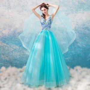 Chic / Belle Bleu Robe De Bal 2018 Princesse V-Cou Unique Sans Manches Appliques En Dentelle Longue Volants Dos Nu Robe De Ceremonie
