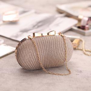 Modern / Fashion Beige Metal Glitter Clutch Bags 2018