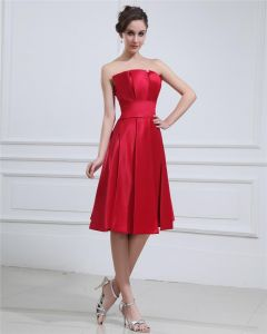 Square Ruffle Sleeveless Belt Knee Length Satin Cocktail Party Dress