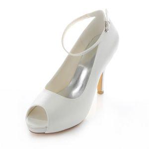 Elegante Satijnen Trouwschoenen Witte Stiletto Hakken Pumps 10cm Hoge Hak Pee Teen