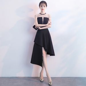 Sexy Black Evening Dresses  2018 A-Line / Princess Beading Rhinestone Scoop Neck Sleeveless Short Formal Dresses