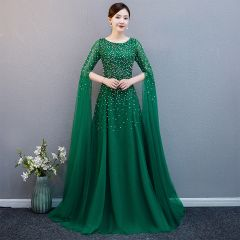 Chic / Beautiful Dark Green Evening Dresses  2019 A-Line / Princess Scoop Neck 1/2 Sleeves Sequins Sweep Train Ruffle Formal Dresses