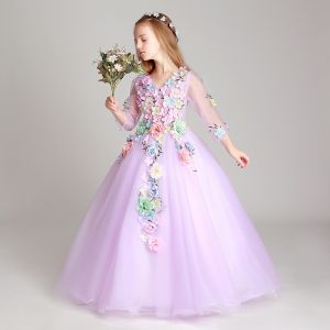 Flower Fairy Lilac Flower Girl Dresses 2017 Ball Gown V-Neck 3/4 Sleeve Appliques Flower Floor-Length / Long Ruffle Wedding Party Dresses