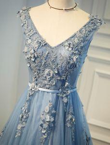 Belle Robe De Soirée 2017 Perles En V-cou Applique Dentelle Et Fleurs Bleu Longue Robe
