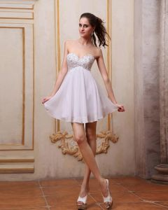 Chiffon Beading Sweetheart Mini Graduation Dresses