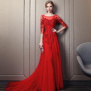 Elegant Red Evening Dresses  2018 A-Line / Princess Square Neckline 3/4 Sleeve Appliques Flower Beading Sequins Chapel Train Ruffle Backless Formal Dresses