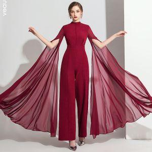 Classy Burgundy Jumpsuit 2019 High Neck Long Sleeve Ankle Length Evening Dresses