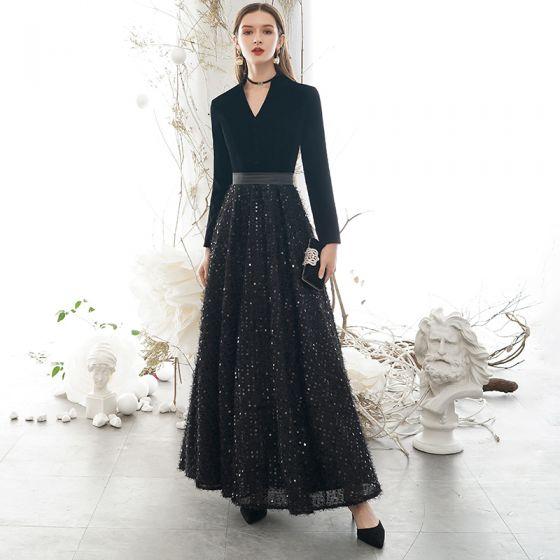 Chic Noire Robe De Soirée 2020 Princesse V-Cou Gland Paillettes Manches Longues Longue Robe De Ceremonie