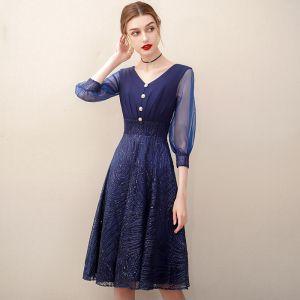 Chic / Beautiful Navy Blue Homecoming Sequins Graduation Dresses 2020 A-Line / Princess V-Neck 3/4 Sleeve Knee-Length Formal Dresses