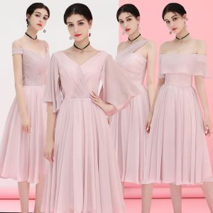 Affordable Blushing Pink Chiffon Bridesmaid Dresses 2018 A-Line / Princess Tea-length Ruffle Backless Wedding Party Dresses