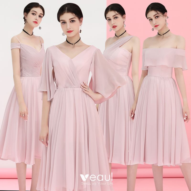great quality buy best hot product Affordable Blushing Pink Chiffon Bridesmaid Dresses 2018 A-Line / Princess  Tea-length Ruffle Backless Wedding Party Dresses