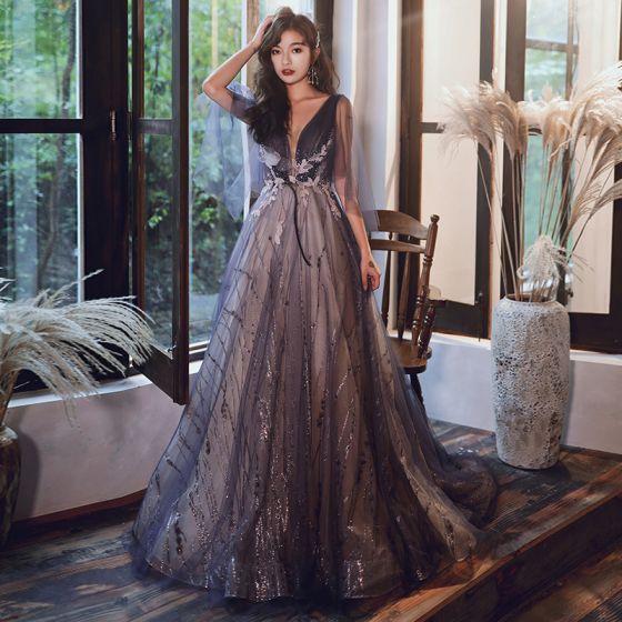 Uroczy Fioletowe Sukienki Wieczorowe 2020 Princessa V-Szyja Frezowanie Cekiny Z Koronki Kwiat Kótkie Rękawy Bez Pleców Trenem Sweep Sukienki Wizytowe