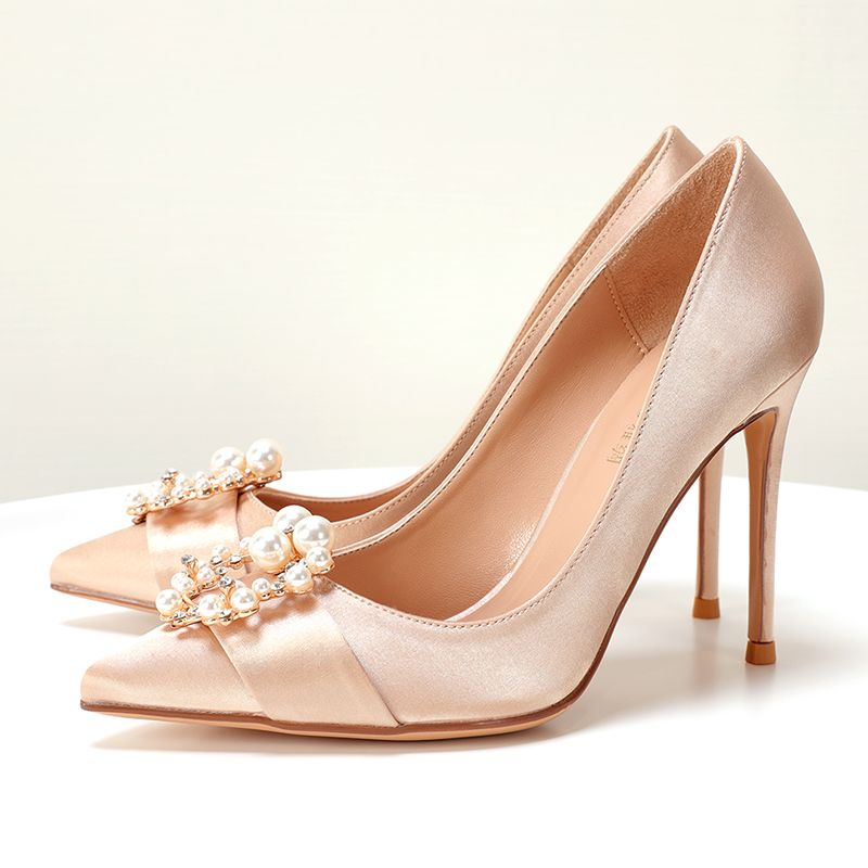 Chic / Beautiful Nude Wedding Shoes 2019 Pearl Rhinestone 10 cm Stiletto Heels Pointed Toe Wedding Pumps