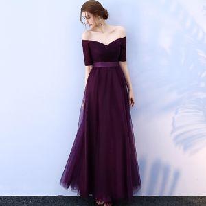 Abordable Grape Robe Demoiselle D'honneur 2019 Princesse De l'épaule 1/2 Manches Ceinture Longue Volants Dos Nu Robe Pour Mariage