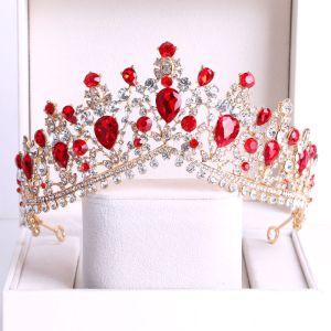 Mooie / Prachtige Rode Rhinestone Bruids Haaraccessoires 2020 Goud Metaal Tiara Huwelijk Accessoires