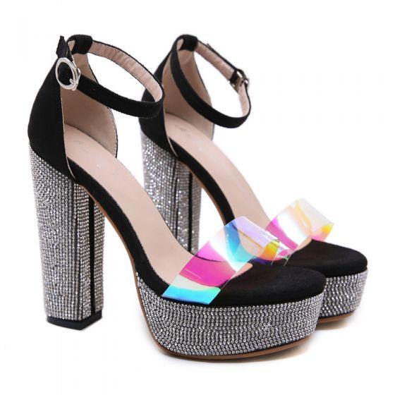 Sjarmerende Svart Aften Rhinestone Sandaler Dame 2020 Ankelstropp 12 cm Tykk Hæler Peep Toe Sandaler