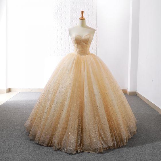 Glitzernden Champagner Brautkleider 2018 Ballkleid Glanz Pailletten Herz-Ausschnitt Ärmellos Lange Hochzeit