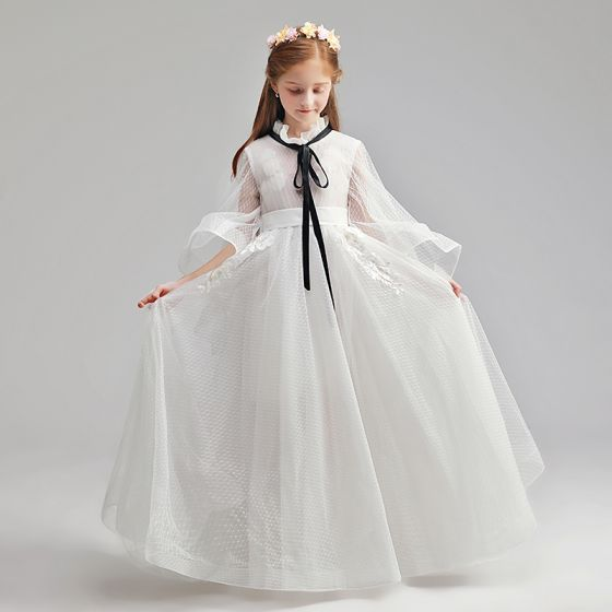 Modest / Simple Ivory Flower Girl Dresses 2019 A-Line / Princess High Neck Long Sleeve Sash Appliques Lace Spotted Tulle Floor-Length / Long Ruffle Wedding Party Dresses