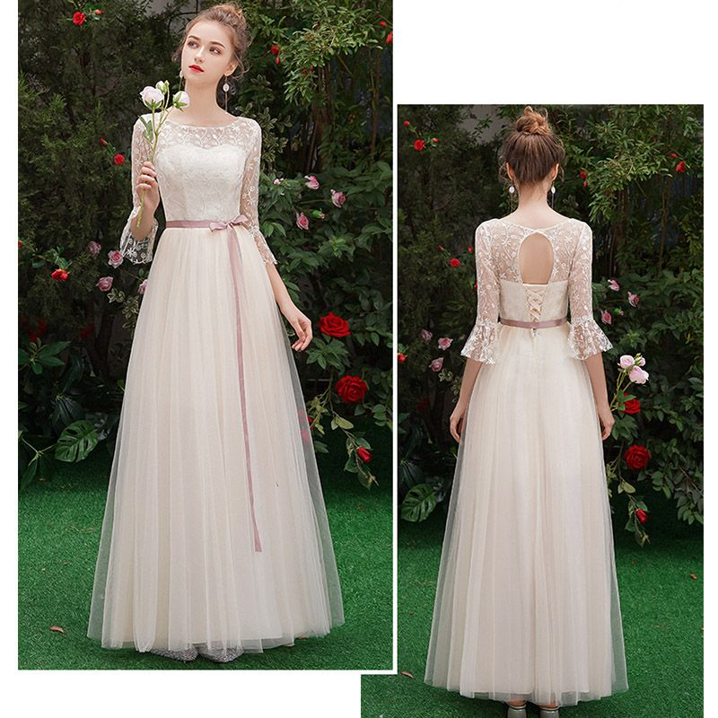Discount Champagne See-through Bridesmaid Dresses 2019 A-Line / Princess Sash Appliques Lace Floor-Length / Long Ruffle Backless Wedding Party Dresses