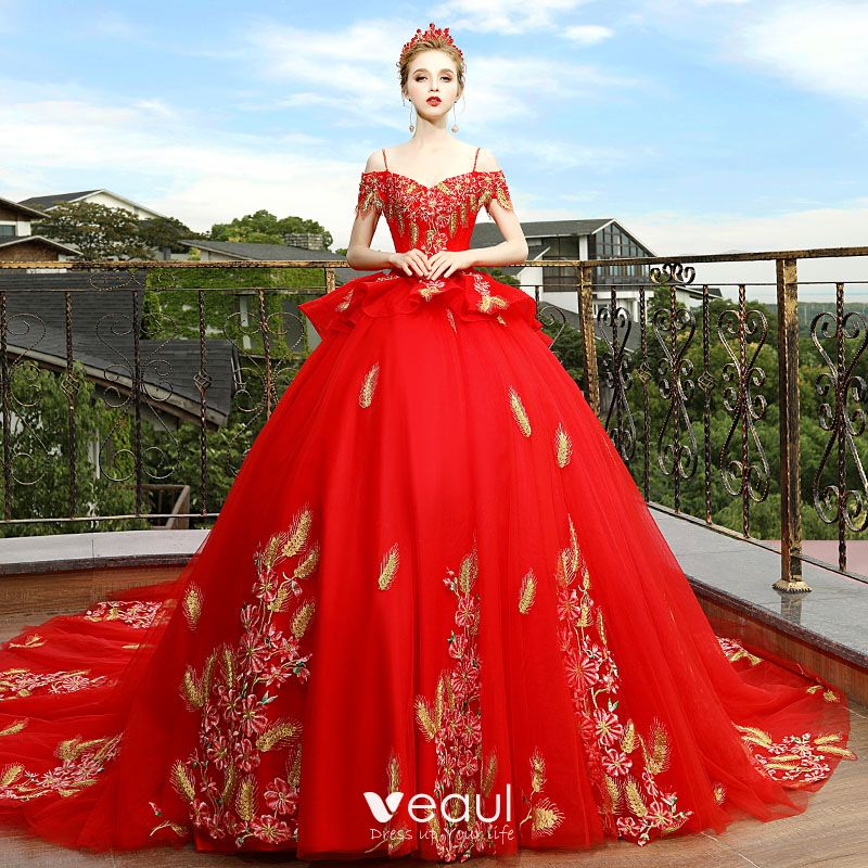Red And White Wedding Dresses With Sleeves: Luxury / Gorgeous Red Wedding Dresses 2018 Ball Gown Off
