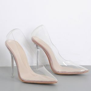 Sexy Transparent Beige Cocktail Party Pumps 2020 10 cm Stiletto Heels Pointed Toe Pumps