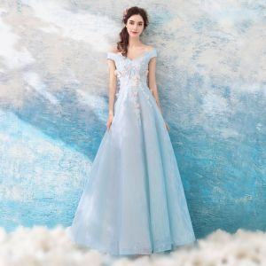 Chic / Beautiful Sky Blue Evening Dresses  2018 A-Line / Princess Floor-Length / Long Tulle Strapless Butterfly Appliques Backless Beading Evening Party Formal Dresses