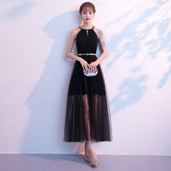 Modern Fashion Summer Black Evening Dresses 2018 A Line Princess