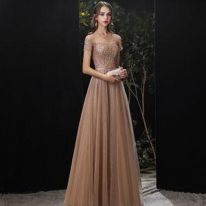 Charmant Doré Robe De Soirée 2020 Princesse Encolure Dégagée Perlage Paillettes Ceinture Manches Courtes Longue Robe De Ceremonie