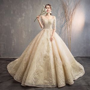 Luxury / Gorgeous Champagne Wedding Dresses 2019 A-Line / Princess Off-The-Shoulder 3/4 Sleeve Backless Appliques Lace Beading Glitter Tulle Cathedral Train Ruffle
