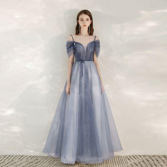 Élégant Bleu Ciel Robe De Soirée 2020 Princesse Bretelles Spaghetti Manches Courtes Glitter Tulle Ceinture Longue Volants Dos Nu Robe De Ceremonie