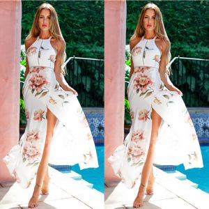 Chic / Beautiful Ivory Spring Beach Maxi Dresses 2019 Printing Halter Backless Sleeveless Split Front Ankle Length Womens Clothing