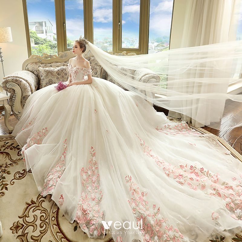 0608c690c1 chic-beautiful-ivory-wedding-dresses-2018-ball-gown-off-the-shoulder-short- sleeve-backless -blushing-pink-appliques-lace-cathedral-train-ruffle-800x800.jpg