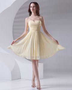 Mode Lieverd Knielengte Ruches Chiffon Bruidsmeiden Jurken