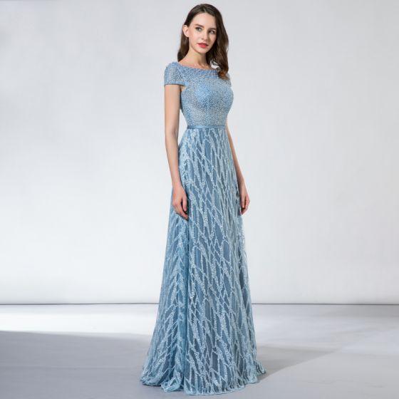 Chic / Belle Bleu Ciel Robe De Soirée 2017 Princesse En Dentelle Perlage Paillettes Dos Nu Encolure Carrée Manches Courtes Longue Robe De Ceremonie