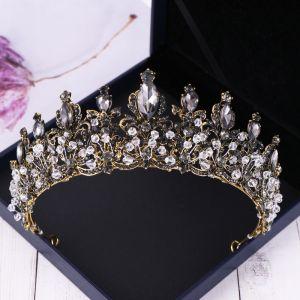 Baroque Black Tiara Bridal Hair Accessories 2020 Alloy Rhinestone Wedding Accessories