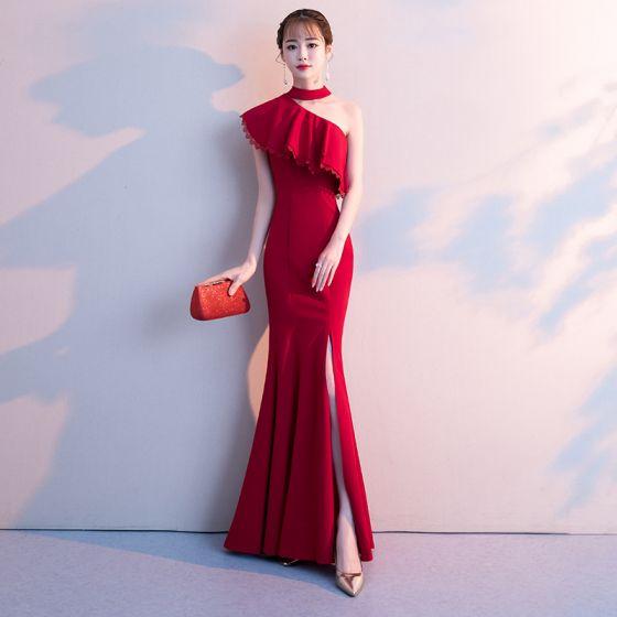 Y Burgundy Evening Dresses 2018 Trumpet Mermaid Split Front Halter Backless Short Sleeve Floor Length Long Formal
