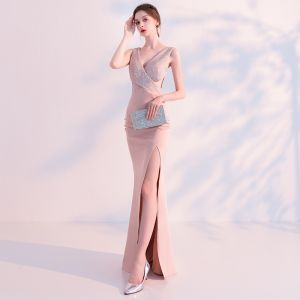 Sexy Pearl Pink Evening Dresses  2018 Trumpet / Mermaid V-Neck Sleeveless Rhinestone Split Front Floor-Length / Long Backless Formal Dresses