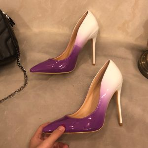 Modern / Fashion Ivory Purple Evening Party Pumps 2019 Patent Leather 12 cm Stiletto Heels Pointed Toe Pumps