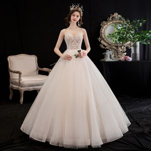 Affordable Champagne Wedding Dresses 2020 A-Line / Princess Spaghetti Straps Sleeveless Backless Glitter Tulle Appliques Lace Beading Floor-Length / Long Ruffle