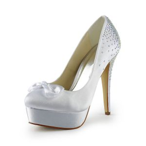 Classic High Heels Bridal Shoes Rhinestone Stilettos Pumps With Platform