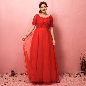 Chic / Belle Rouge Grande Taille Robe De Soirée 2018 Princesse Tulle U-Cou Appliques Dos Nu Perlage Soirée Robe De Bal