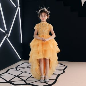 High Low Gold Flower Girl Dresses 2019 A-Line / Princess High Neck Short Sleeve Rhinestone Beading Asymmetrical Cascading Ruffles Wedding Party Dresses