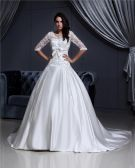V-neck Lace Applique Chapel A-Line Bridal Gown Wedding Dress