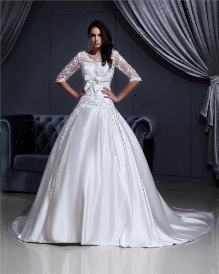 V-neck Lace Applique Chapel A-Line Bridal Gown Wedding Dress