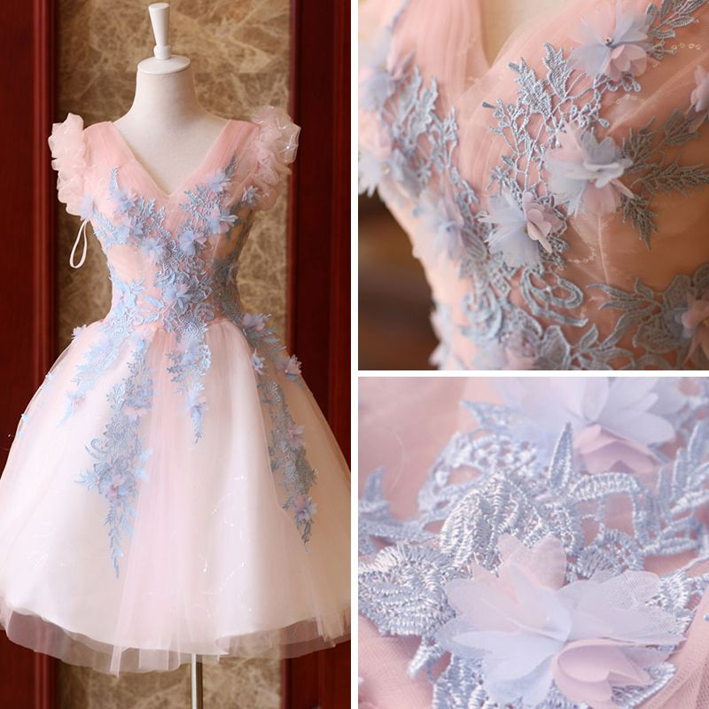 Modern / Fashion Pearl Pink Cocktail Dresses 2019 A-Line / Princess V-Neck Sleeveless Appliques Lace Glitter Tulle Short Ruffle Backless Formal Dresses