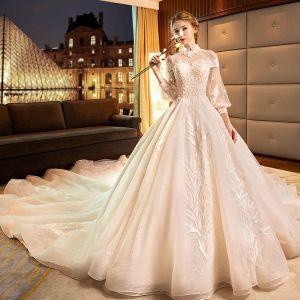 Luxus / Herrlich Pink Brautkleider / Hochzeitskleider 2019 A Linie Stehkragen Spitze Blumen Lange Ärmel Rückenfreies Königliche Schleppe