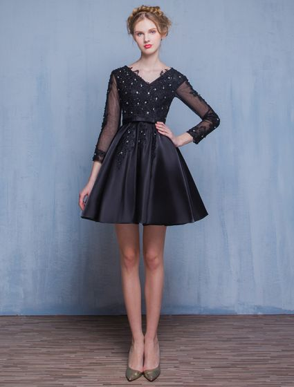 Beautiful Little Black Dresses 2016 A-line V-neck Applique Lace Black Satin Short Cocktail Dress With Sleeves