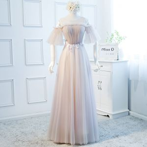 Chic / Beautiful Blushing Pink Evening Dresses  2018 A-Line / Princess See-through Scoop Neck 1/2 Sleeves Appliques Flower Floor-Length / Long Ruffle Backless Formal Dresses