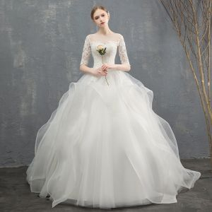 Elegant Ivory Wedding Dresses 2018 Ball Gown Cascading Ruffles Lace Flower Scoop Neck 1/2 Sleeves Floor-Length / Long Wedding