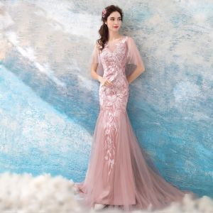 Modern / Fashion Blushing Pink 2018 Evening Dresses  Summer V-Neck Tulle Lace Appliques Backless Floor-Length / Long Trumpet / Mermaid Evening Party Formal Dresses